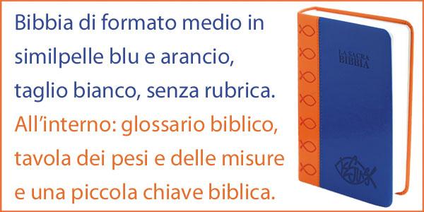 Bibbia della Nuova Diodati in formato medio blu e arancione