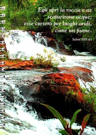 """Appunti Biblici Block Notes - """"Egli aprì la roccia e ne scaturirono acque; esse corsero per luoghi aridi, come un fiume"""" Salmi 105,41"""