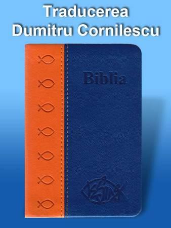 Bibbia in Rumeno tascabile in pelle Arancione e Blu - Dumitru Cornilescu (Pelle)