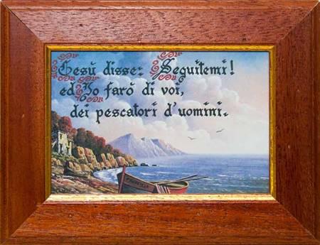 """Quadretto con stampa """"Barca in riva al mare"""" e con versetto biblico"""