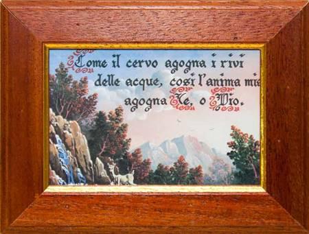 """Quadretto con stampa """"Cerva"""" e con versetto biblico"""