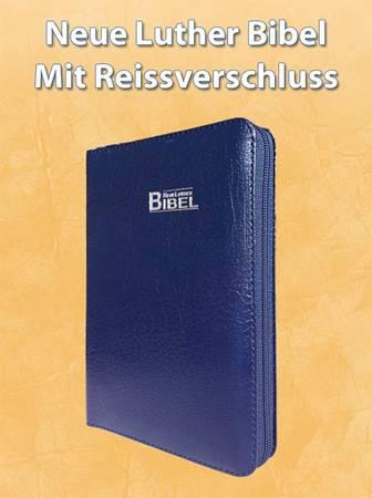 Neue Luther Bibel - Leder Blau mit Reissverschluss