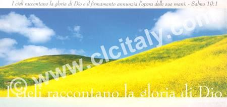 Cartolina formato panoramico con versetto Biblico - I cieli raccontano la gloria di Dio