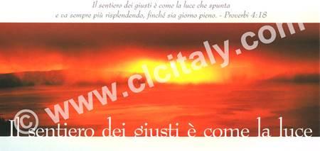 Cartolina formato panoramico con versetto Biblico - Il sentiero dei giusti è come la luce