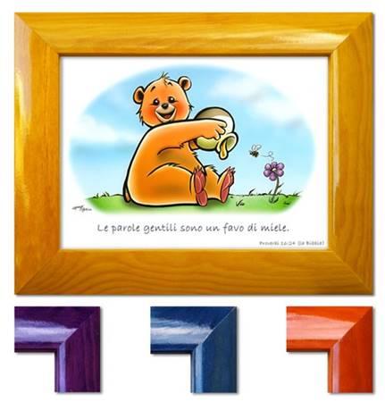 Quadretto con versetto Proverbi 16:24 - Disponibile in quattro colori diversi - La cornice è indicativa