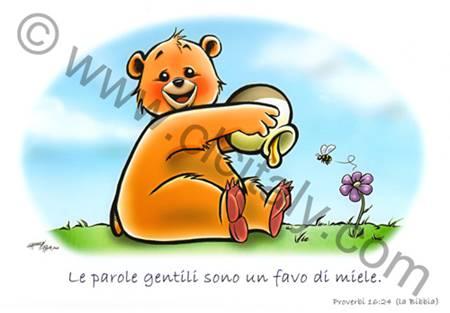 Cartolina Orsetto con versetto Proverbi 16:24 - Con busta