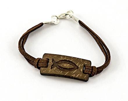 Braccialetto con simbolo pesce in noce di cocco