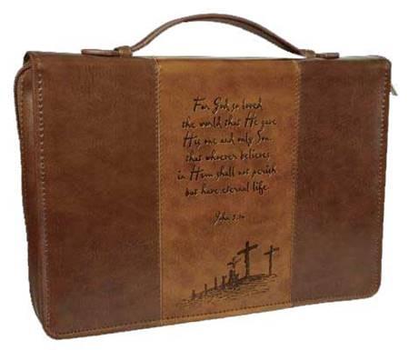 Copribibbia Medio in pelle marrone con incisione Calvario e versetto John 3:16 (Pelle)