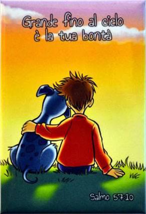 Magnete Calamita Bambino e cagnolino Salmo 57:10