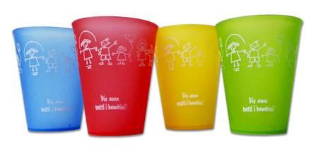 """A1216 - Bicchiere in plastica """"Dio ama tutti i bambini!"""""""