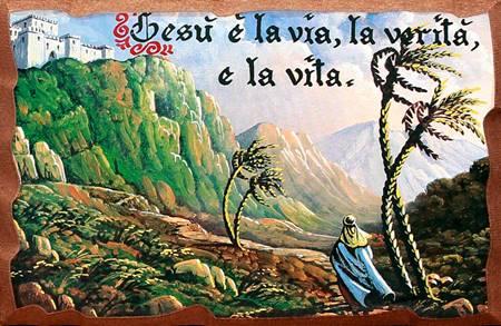 Quadretto in legno lavorato a mano - Viandante: Gesù è la via, la ...