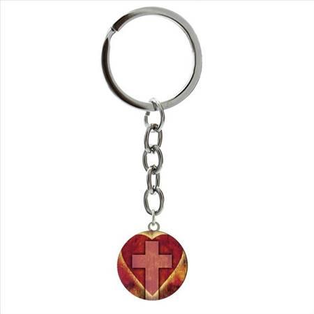 Portachiavi Croce/Cuore rosso
