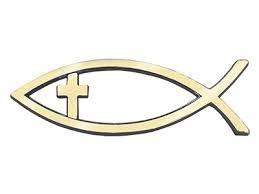 Adesivo per auto Pesce con croce dorato grande