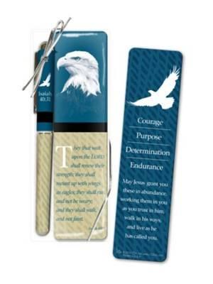 Penna + Segnalibro Isaiah 40:31 Blu/Verde