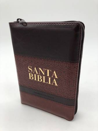 Biblia RVR60 Tamaño Manual Letra Grande Cierre Índice Marrón Café (Similpelle)