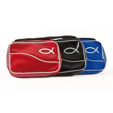 A7157 Copribibbia Pesce in vernice Blu - XL (Similpelle)