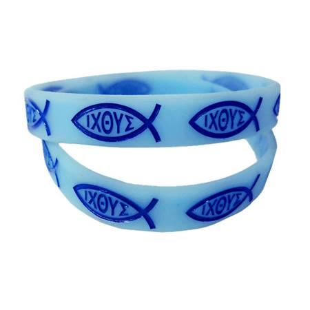 Braccialetto Pesce Ichtus Azzurro