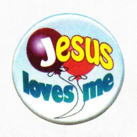 "A245 - Bottone ""Jesus loves me"""