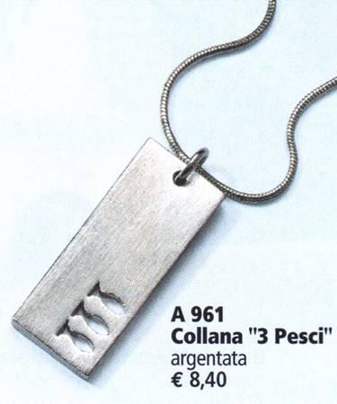 "A961 - Collana ""3 pesci"" argentata"