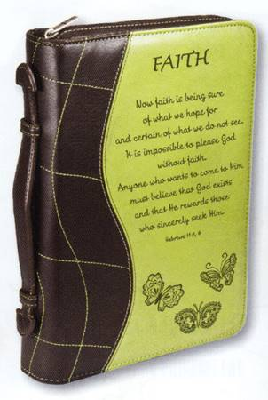 "Copribibbia ""Faith - Hebrews 11:1-6"" - Colore Verde - Large"