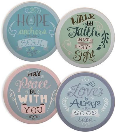 "Set di 4 sottobicchieri ""Faith Hope Love Peace"""