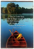 Quadro in legno lavorato a mano Efesini 2:13-14