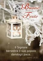 Cartolina Buone Feste Lanterna Salmo 29:11 Con Busta