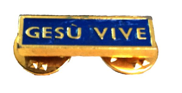 """Spilla """"Gesù Vive"""" colori dorato e blu"""