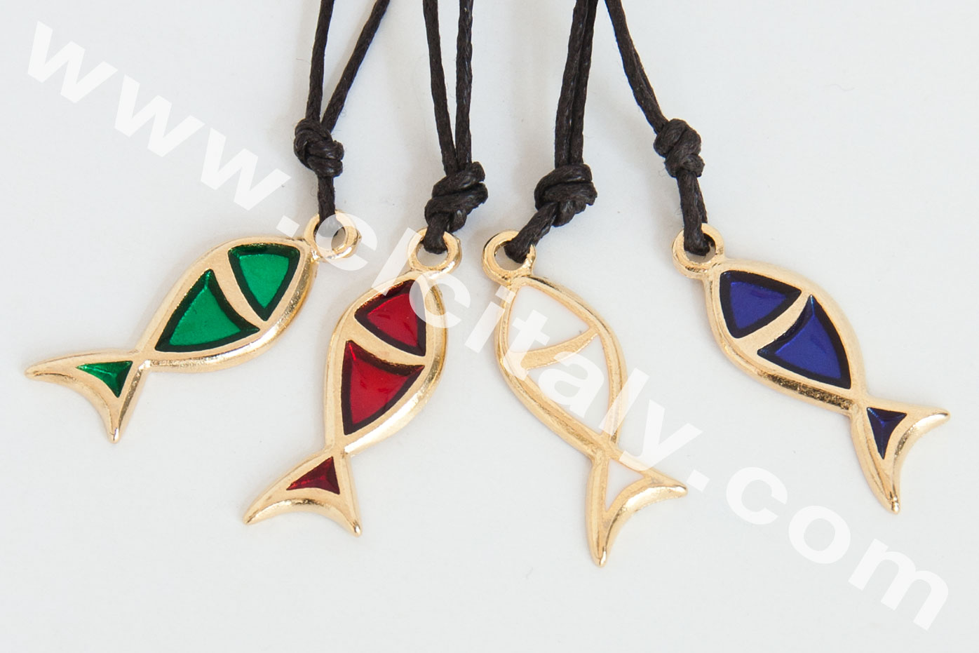 Collana Pesce Dorato Stilizzato Con Interno Colorato (Art. 108)