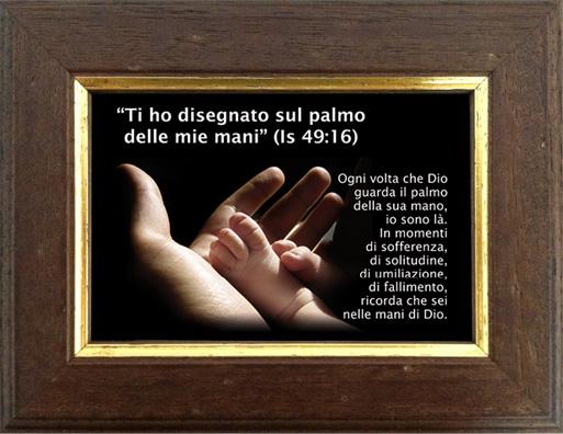 Quadretto immagine di mano e piedino (Isaia 49:16) - Cornice arte povera