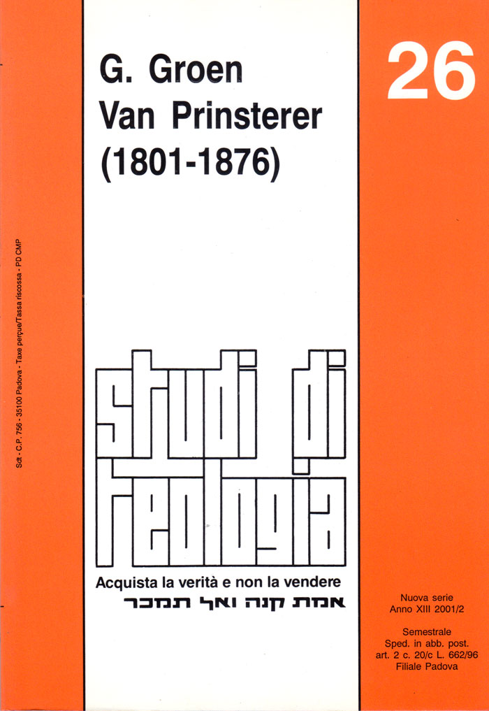 G. Groen Van Prinsterer 1801-1876 (Studi di teologia n° 26)