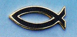 A107B - Spilla Pesce Nero Argentata