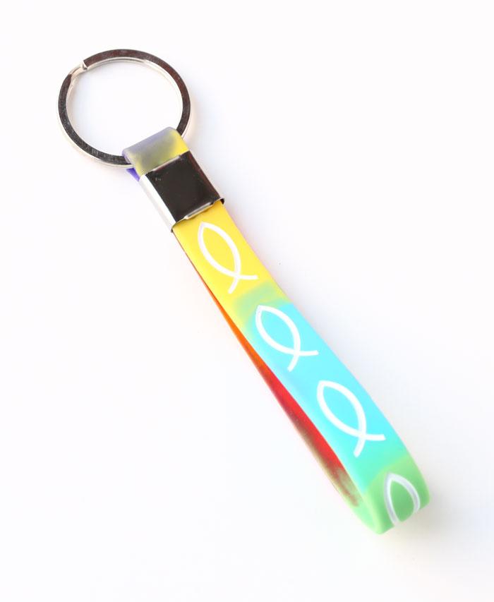 Portachiavi Multicolor in Silicone con Pesci Bianchi