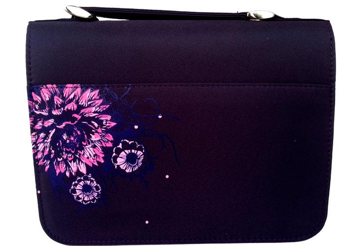 Copribibbia in nylon Amazing Grace medio - Viola fantasia fiori