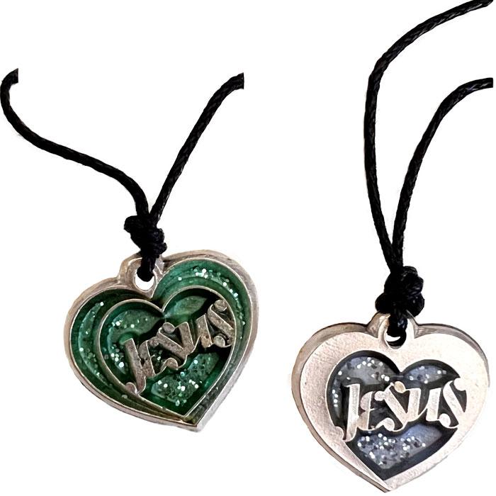 """Collana argentata cuore con scritta """"Jesus"""" (Art. 120)"""