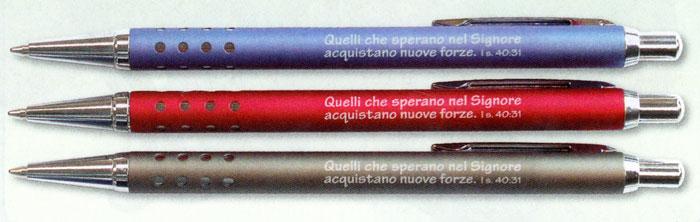 """A1266 - Penna in metallo colorato """"Isaia 40:31"""""""