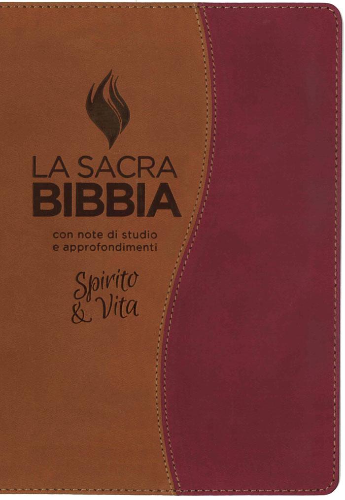 Bibbia da studio Spirito e Vita in Similpelle Bicolore Marrone/Ruggine
