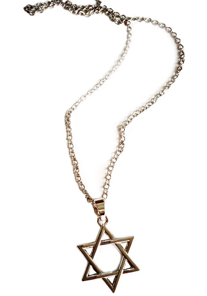 Collana Stella di Davide placcata in argento con maglia ovale