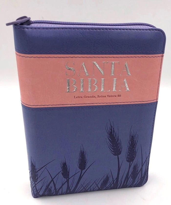 Biblia RVR60 Tamaño Manual Letra Grande Cierre índice Lila/Rosa