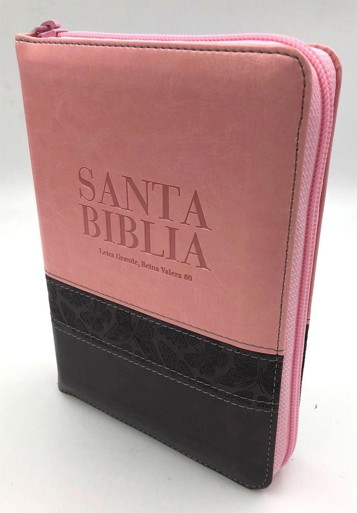 Biblia RVR60 Tamaño Manual Letra Grande Cierre Indice Rosa Marrón