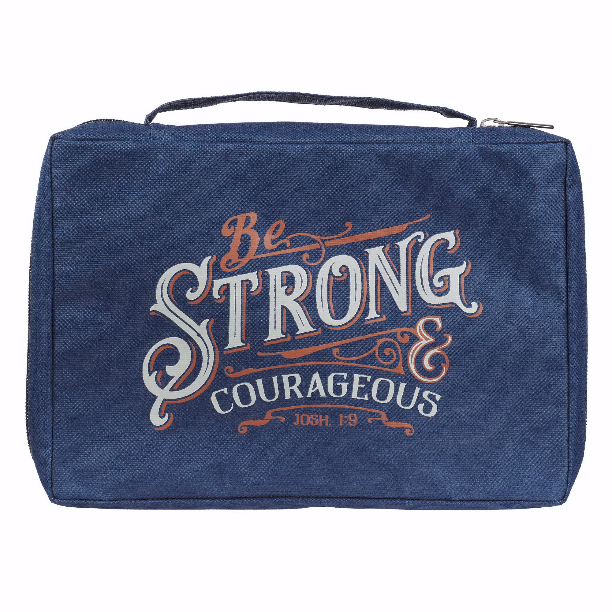 Copribibbia Be Strong & Courageous Navy Joshua 1:9