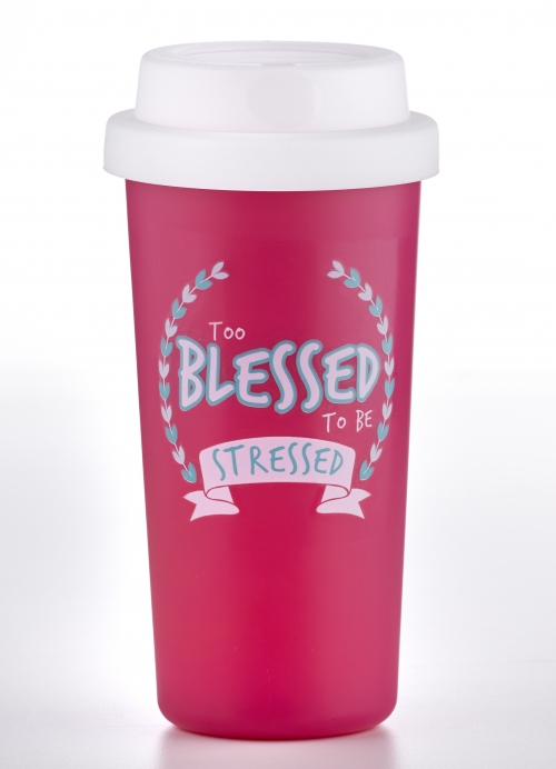 """Bicchiere da viaggio """"Too blessed to be stressed"""""""